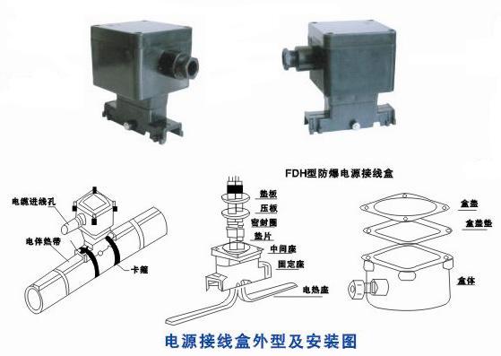 增安型爆电源接线盒用于电源线与电热带在防爆区